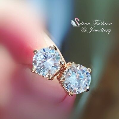 18K Rose Gold GF Made With Swarovski Element Round Cut 9mm Shiny Stud Earrings