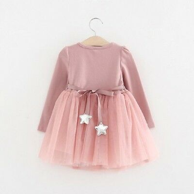 Toddler Infant Baby Girl Long Sleeve Party Dress Tutu Lace Dresses Cotton Outfit
