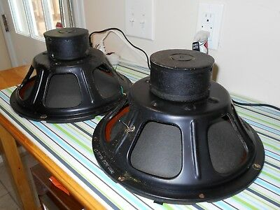 "Matched Pair 1960 Vintage P12N 12"" Jensen Alnico Magnet Speakers Tested Tube Amp"