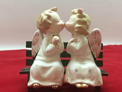 """A FINE QUALITY"" Japan KISSING ANGEL SET Sitting on Bench with Tags Ceramic"