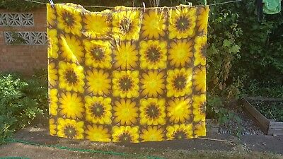 CURTAINS bark cloth Vintage 60s orange brown flower print pair x 2 yellow 54 x64