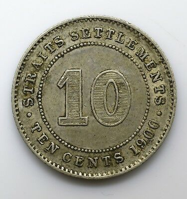 1900 Straits Settlements Ten 10 Cents - Victoria - Lot 86