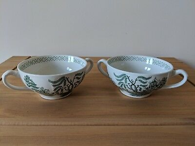 Vintage J&G Meakin Green Willow Two Handled Soup Bowls / Cups x2