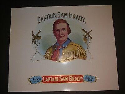 CAPTAIN SAM BRADY   CIGAR Box Label INNER Original c1930's COVINGTON KENTUCKY