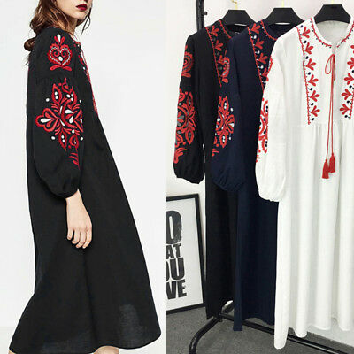Vintage 70s Floral Embroidered Summer Boho balloon sleeve Casual MAXI DRESS New