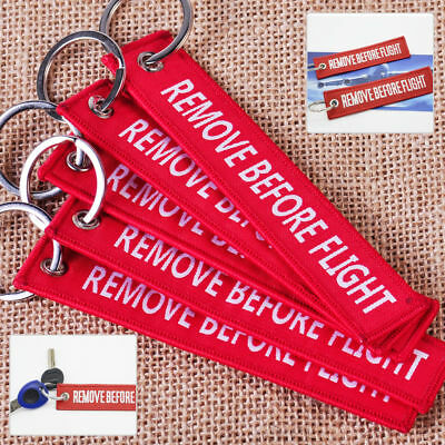 Red REMOVE BEFORE FLIGHT Embroidered Luggage Tag Label Key Chain Ring Aviation