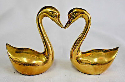 Vintage Pair of Small Solid Brass Swan Ring Holders, Set of Two Brass Swan Figur