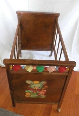 Vintage 1950s Whitney Brothers Wooden Doll Baby Crib Bed Wblocks Rollers