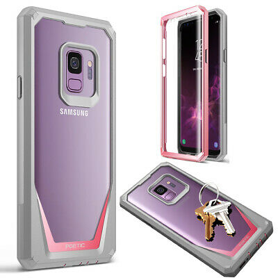 Poetic Galaxy S9 Case, Heavy Duty Clear Back Guardian Series Shock proof Pink