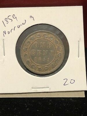 1859 Narrow 9 Canada Copper Large Cent Canadian. Nice High Grade