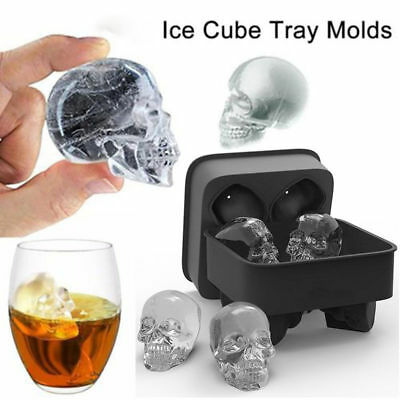 Halloween Skull Ice Cube Maker Genie Bar Party Silicone Tray Chocolate Mold