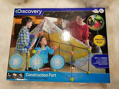 Discovery Kids 77 Piece Build And Play Construction Fort Set Blue