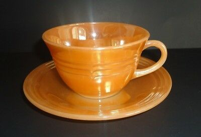 Vintage Fire King Peach Lustre Cups & Saucers Three Band Design Set Of 4