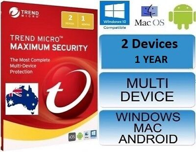 Trend Micro Maximum Security 12 (2018) | 1 Years Licence | 2 Devices