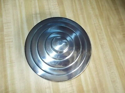 "Vintage Counter Jar Chrome Metal Lid Good Condition 6 1/2"" Across"