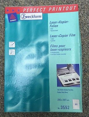 New 16 DIN A4 Laser and Copier Films (Zweckform 3552)