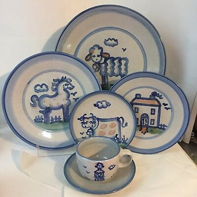 6 Pc Place Setting MA Hadley Pottery Dinnerware Blue House Lady Lamb Cow Horse