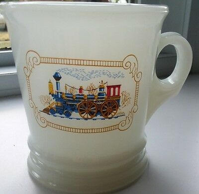 Vintage Avon Milk Glass Shaving Mug With Train