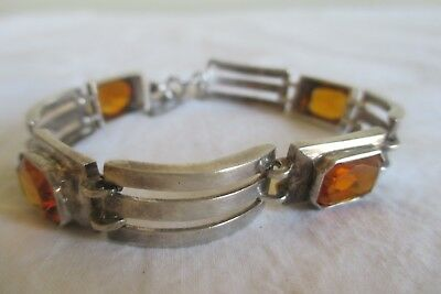 Vtg Mid-Century Modern SILVER Sterling BRACELET Fall/AUTUMN Stone Small Wrist