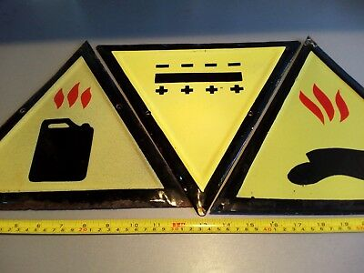 Vintage Tin Porcelain Enamel Sign Industrial -3 PCS-1960's  ++GIFT  Plastic Sign