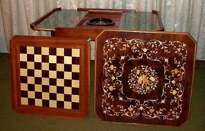 Italian Inlaid Wood Multi Game Table With Roulette, Checkers/Chess, Backgammon