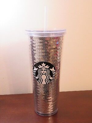 2017 Starbucks Cold Cup Silver Sequins Tumbler 24 Oz Venti New Free Shipping