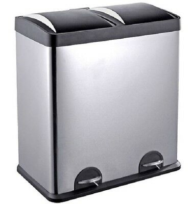 Trash Can Kitchen Stainless Steel Metal 16 Gallon 2 Compartment Step Recycle Bin