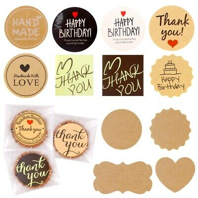 100Pc Round Kraft Paper Label Seal Adhesive Handmade Sticker Packaging Tag Decor