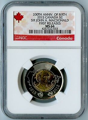 2015 Canada Ngc First Releases Ms66 Sir John A. Macdonald Toonie $2! Top Pop!