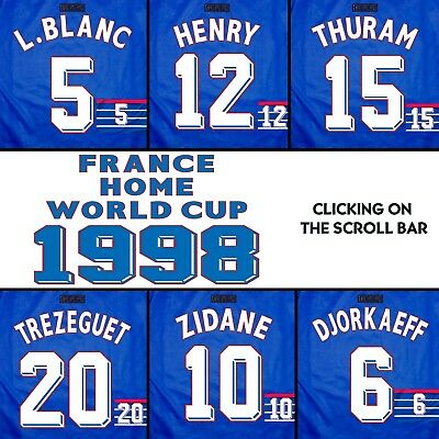 Francia Kit Name France World Cup 1998 Home  Name Set Printing Flocage