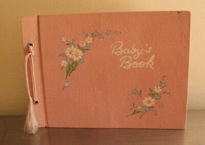 Pink Vtg Antique Unused Gibson Baby's Book Album Illustrations Janet Laura Scott