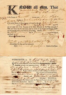 1820, Worcester, Mass; Group of writs signed by men of fame, Allen,Paine, Green