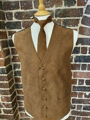 "MEN`S NEW SUEDE LOOK WAISTCOAT TAN  Soft ""Washable"" waistcoats 34"" - 58"" CHEST"