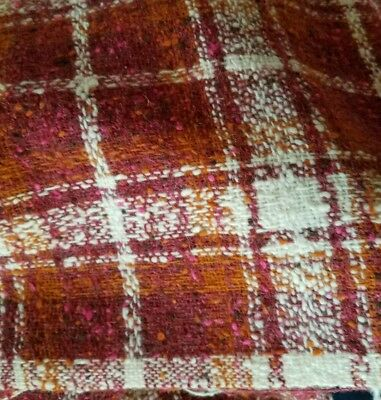 vtg 70's Fabric Wool plaid Tweed 3+ Rust reds