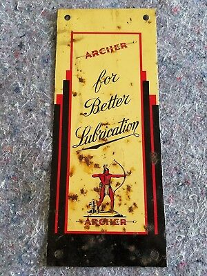 1950s Archer Lubricants Metal tin Sign Oil Gas Station Garage Barn Art indian