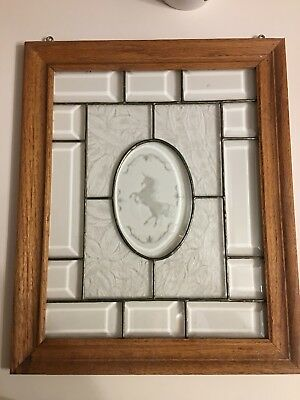 Custom Made Etched Unicorn  In A Stained Glass Style Window W/ Heavy Oak Frame