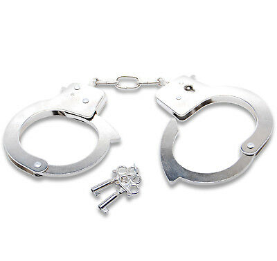Steel Metal Handcuffs w/ Keys Restraints Wrist Cuffs (not for professional use)