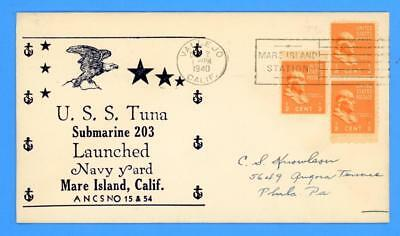 USS Tuna SS-203 Launched at Navy Yard Mare Island October 2, 1940