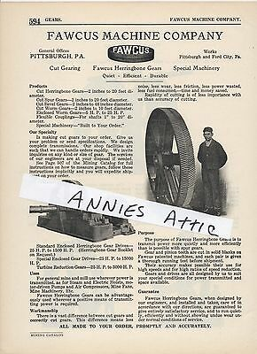 1920 advertising ad FAWCUS MACINE COMPANY Pittsburgh Ford City PA cut gearing