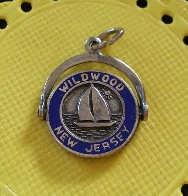 Vintage Sterling Silver and Enamel Wildwood New Jersey Spinner Charm