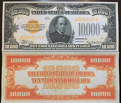 Reproduction United States 1934 $10,000 Bill Gold Certificate Copy USA Currency