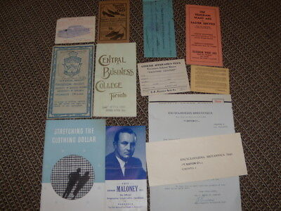Antique Bulk Lot - 11 Toronto,canada, Advertising And Papers,booklets,brochures