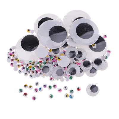 306Pc WIGGLY WIGGLE EYES GOOGLY CRAFT WHITE BLACK & COLORED 7 10 50MM