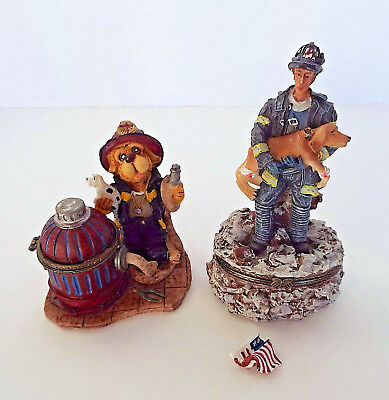 FDNY RED CROSS Trinket Box Lot Search RESCUE Dog FIREFIGHTER Estate Collection