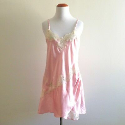 VTG Victorias Secret Pink Lace Slip Chemise Short Nightgown Nightie Women Medium
