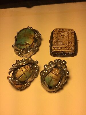 Antique Carved Stone Hieroglyphics & Scarabs In Silver Or Metal Settings Jewery