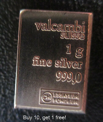 (1) Valcambi Combibar 1 One Gram Silver Bullion Bar .999 Invest Today! Buy10Get1