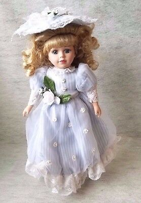 "Victorian Brass Key 16"" Porcelain Doll,  Blue Eyed Blond Beauty"