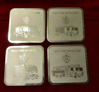 NSW Fire Brigades - New South Wales - Fire Trucks - Set 4 of Coasters - Silver