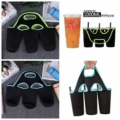 3 Bottle Wine/Beer Cup Cooler Insulated Neoprene Tote Bag Carrier Drink Holder